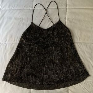 EXPRESS Black and Sparkly Gold Tank Top Cami